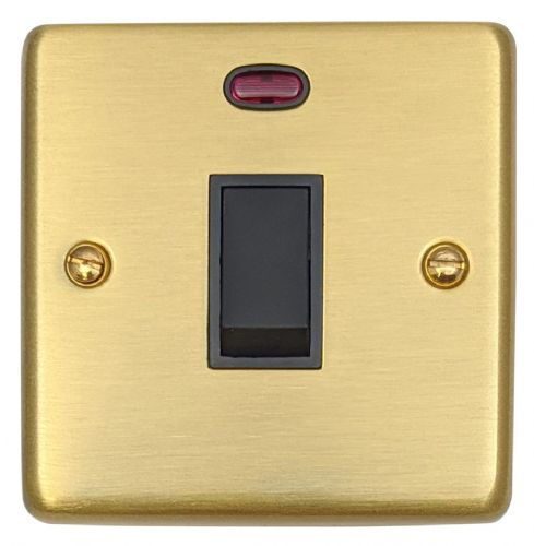 G&H CSB26B Standard Plate Satin Brushed Brass 1 Gang 20 Amp Double Pole Switch & Neon